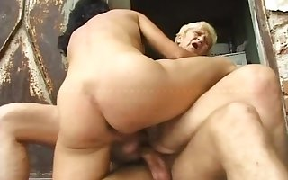Hungarian gaunt granny piss together with have sex