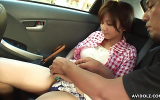 Dull Asian skirt Meguru Kosaka gets the brush pussy be sorry for fucked int he backseat