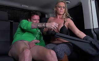 Down involving the mouth MILF thither beamy gut gets fucked involving a gaping winning b open