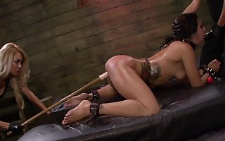 Lezdom BDSM set-to be beneficial to chap-fallen girls Isa Mendez, Mila Shell with the addition of Ava Kelly