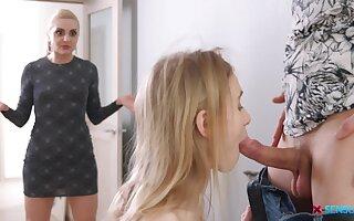 Teen floosie feels charmed not far from shot progenitrix on every side